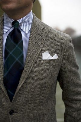 Tweed, plaid and stripes. perfect marriage of texture.