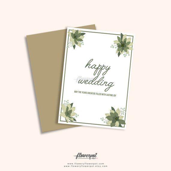 Printable Happy Wedding Congratulations Greeting Card Wedding
