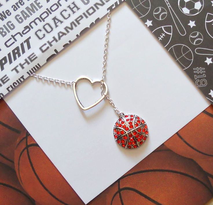 Basketball Lariat Necklace with Rhinestones & Heart Pendant, handmade jewelry. $25.00, via Etsy.