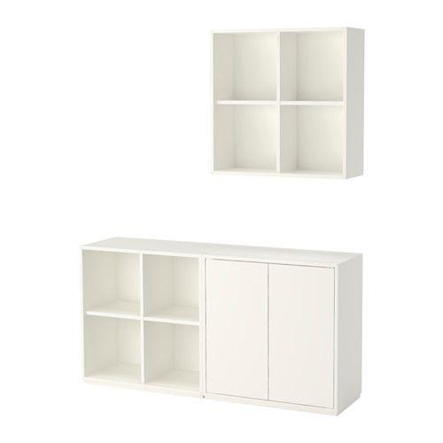 IKEA - EKET, Sestava skříněk se soklem, bílá, , Kombinujte otevřené a uzavřené úložné prostory; věci můžete vystavit nebo je skrýt.Součástí dvířek je zabudovaný otevírací mechanismus, takže je otevřete jen jemným dotykem.
