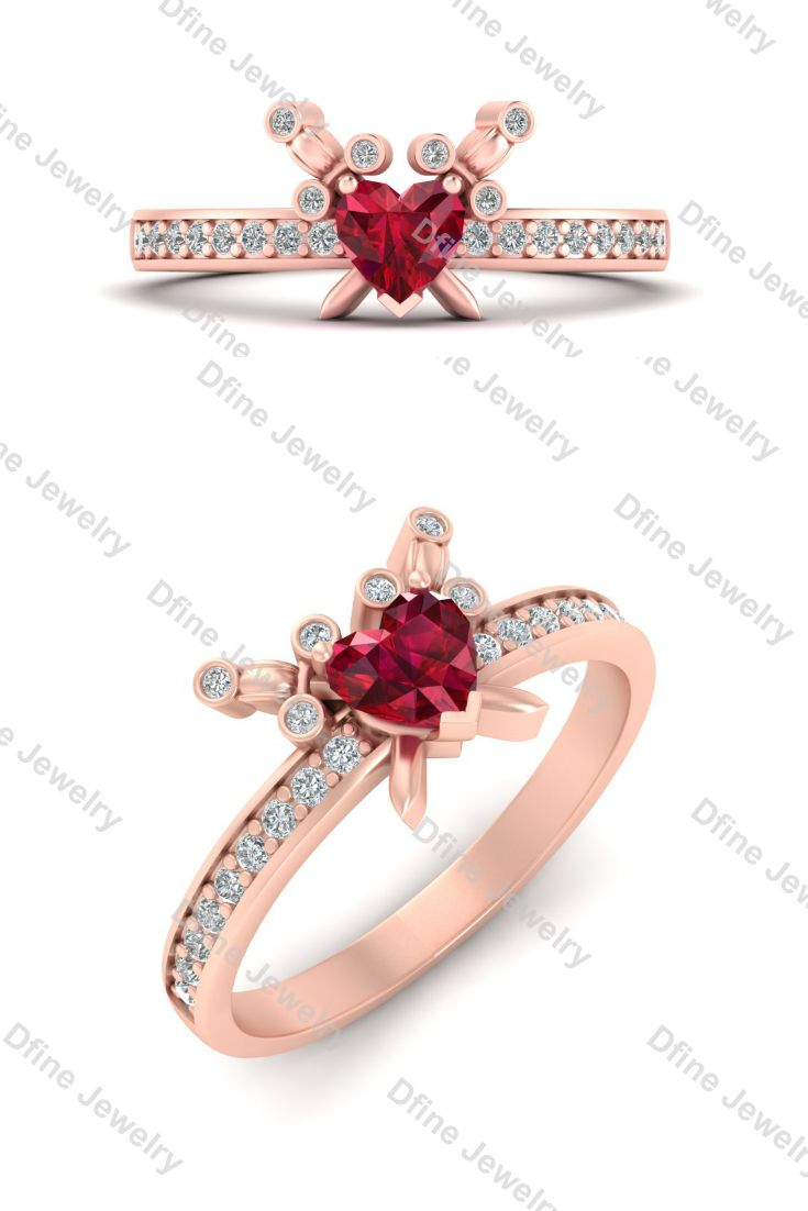 Love And Emotion Represents Heart Shape Pink Ruby Wedding Ring In