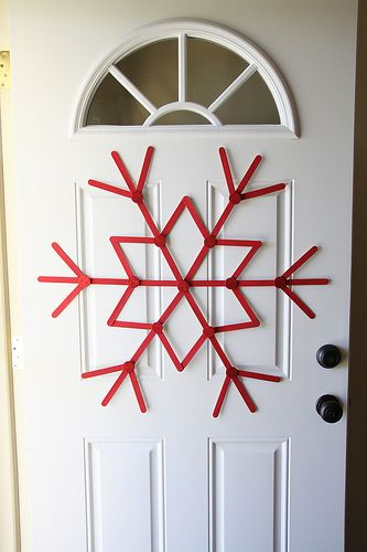 Jumbo snowflake made of popcicle sticks!