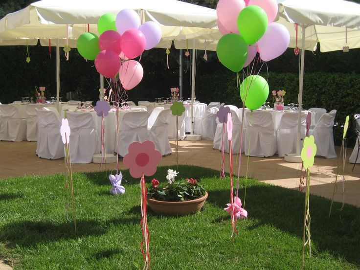 Nice Way To Decor The Garden With Baloons Baptism Party Ideas Pinterest Christening Party
