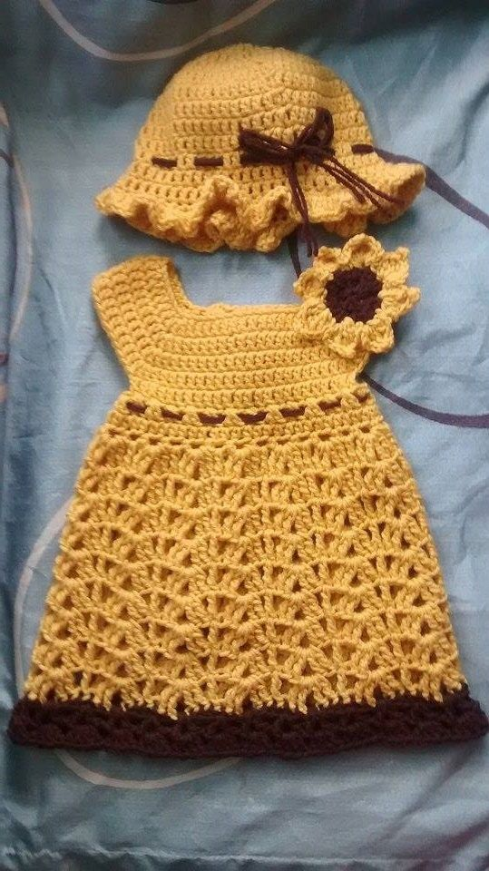 Sunflower Dress Free Shipping by CrochetingPrecious on Etsy ✯‿➹⁀☆҉ This is Not pattern ☆҉‿➹⁀☆҉Crochet Baby Dress and Hat - .https://www.facebook.com/PreciousCrocheting?ref=bookmarks ✯‿➹⁀☆҉ THANK YOU FOR STOPING ☆҉‿➹⁀☆҉   #baby  #forsale #crochet