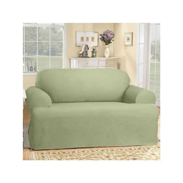 NIP Sure Fit T-Cushion Loveseat Cover Cotton Duck Sage #SureFit #Traditional