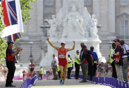 China's Chen Ding wins the men's 20km race walk final at the London 2012 Olympic Games at The Mall August 4, 2012. REUTERS/Paul Hackett