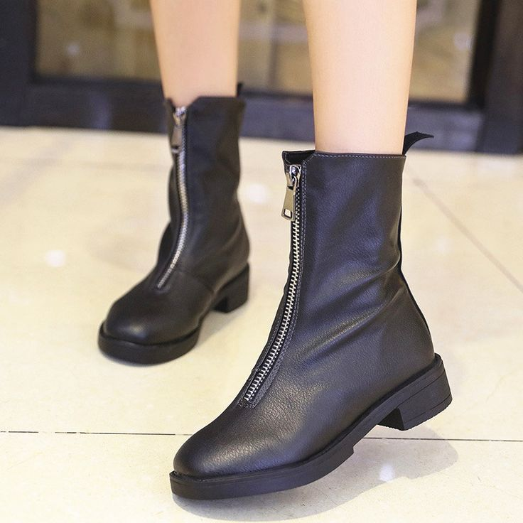 Women black high heel boots qualtiy split leather women shoes new winter wedge lady zip ankle boots  size 35-40 053w #Affiliate