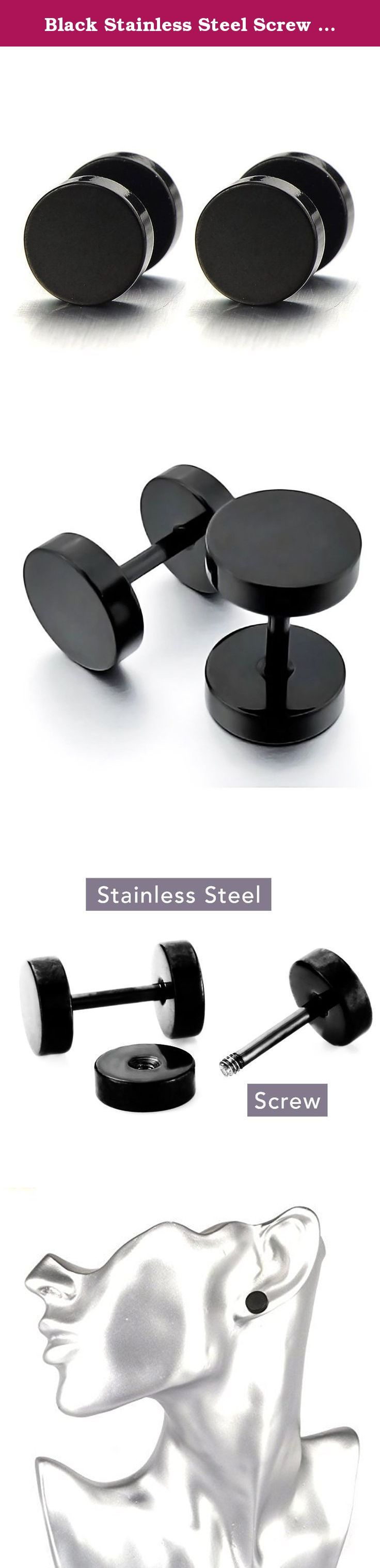 Black Stainless Steel Screw Stud Round Earring Gift for Men Boy (2pcs, 12mm). *Condition: 100% brand new *Material: Stainless Steel *Color: Black *Finishing: Polished *Dimension: 12MM.