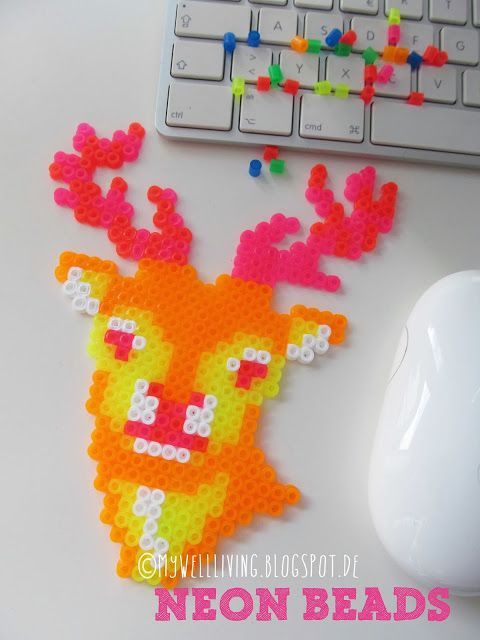 well living: Neon deer in perler beads