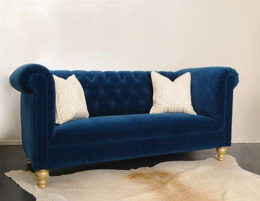 blue velvet sofa sofas jennifer taylor tufted canada toronto