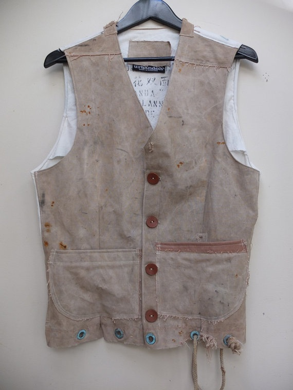 Men's Gilet Waistcoat made from vintage duffel bag by urbandon, $190.00