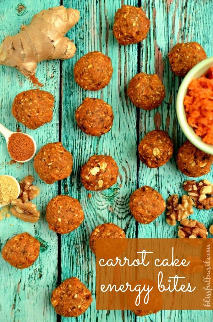 Carrot Cake Energy Bites: 1½ cups pitted Medjool Dates ½ cup finely shredded carrots ½ cup raw walnut pieces ⅔ cup rolled oats 2 tablespoons shelled hemp seeds ½ teaspoon vanilla extract 1 teaspoon cinnamon ½ teaspoon ground ginger ⅛ teaspoon nutmeg