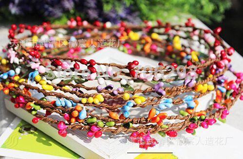 Barato 9 cores 40 cm diy muito pip berry tronco para florais arrangemanet pulseira coroa de flores de casamento diy coroa de flores artificial grinalda, Compro Qualidade Flores & coroas decorativas diretamente de fornecedores da China: