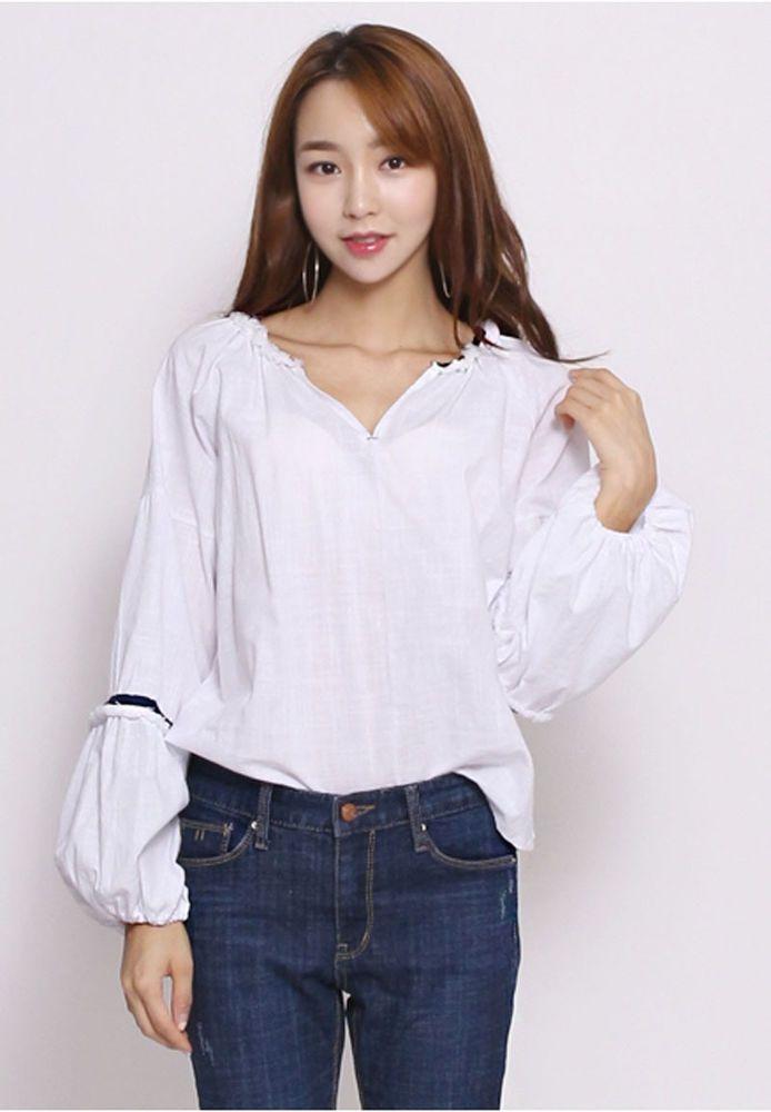 8303 Tinz Women's Lovely Pumpkin Sleeve Point Line Top/Blouse, 2 options…