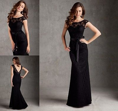 New Arrival Black Sexy Custom Long Formal Lace Mermaid Prom Evening Dresses 2014