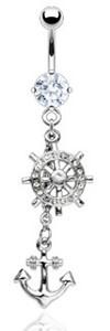 Clear CZ Gem Ship Wheel Anchor Dangle Navel Belly Ring