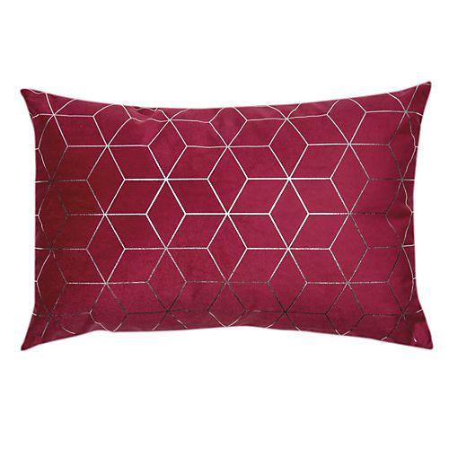 Unik - Coussins décoratifs-Textiles, Tapis Coussin rouge à motifs argentés 35x55cm