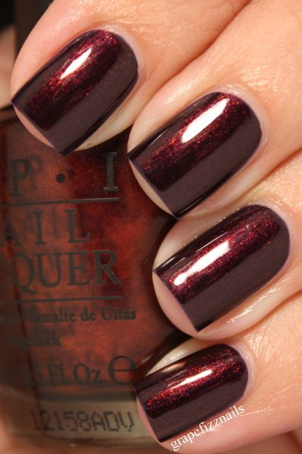OPI, Every Month is Oktoberfest nail color - stunning burgundy/purple polish with shimmer that changes in every different light setting