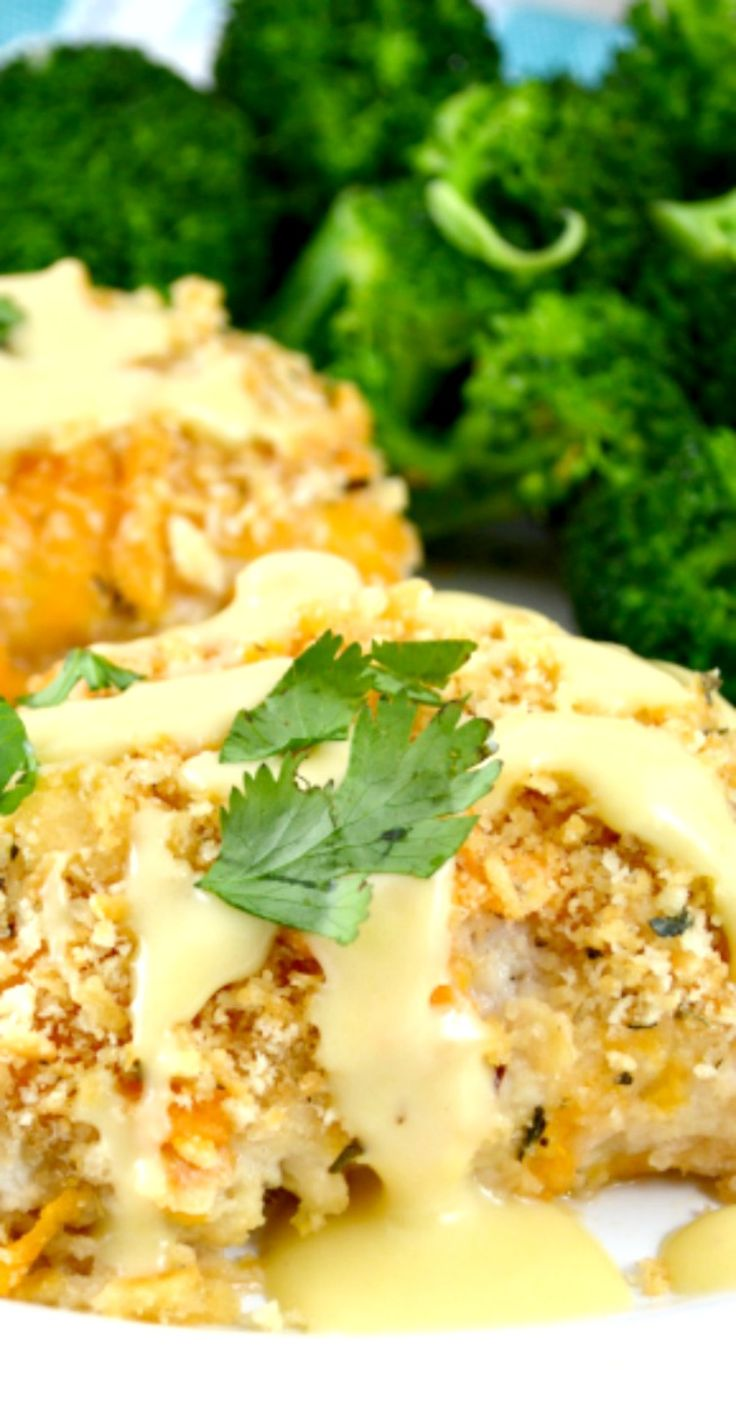 Crispy Oven Baked Ritz Cheesy Chicken. This is Everyones Favorite Chicken! Crunchy Buttery Cheesy Coating With An Easy Yummy Gravy! Oh And It's A Snap To Make!