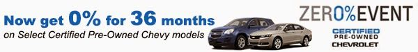 Heiser Auto Group Blog: Heiser's Chevy Certified Pre-Owned Zer0% Event