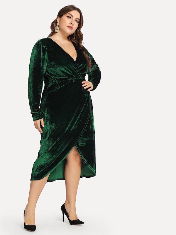 8243ca96a5 Plus Plunge Neck Wrap Velvet Dress -SheIn(Sheinside)