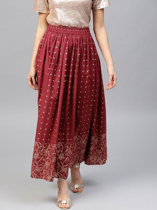 d4f7d8d97 Nayo Women Maroon & Golden Printed Maxi Flared Skirt - | 849 ...