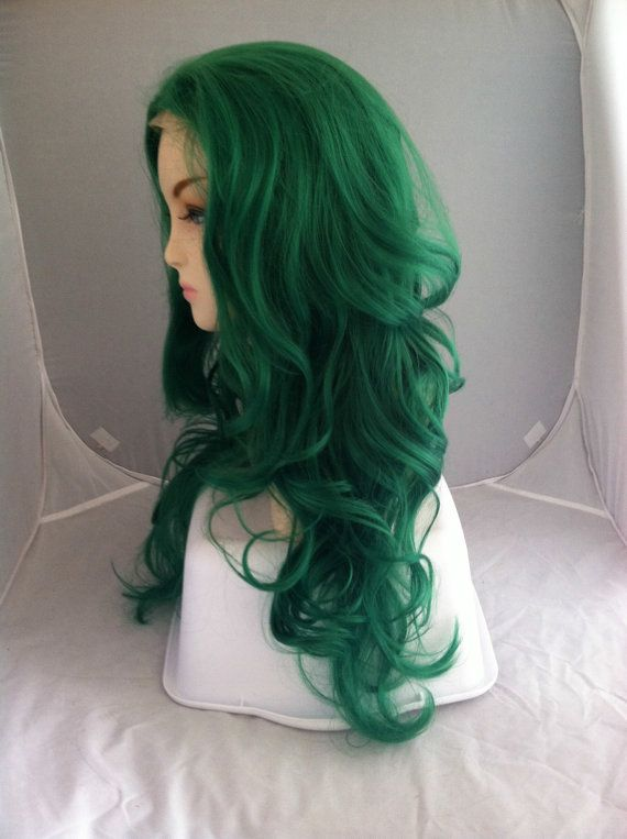 20 OFF SALE / Lucky Green / Long Wavy Lace Front Wig by ExandOh
