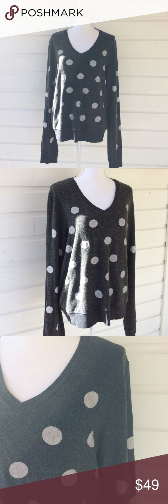 Wildfox Gray White Polka Dot Baggy Beach Jumper Heather Gray sweater plays with your head, is it a sweatshirt or sweater? Screen printed polka dots with minor cracking but looks intentional. Oversized and slouchy. Made in USA. Rayon/Poly/Spandex Blend Wildfox Tops