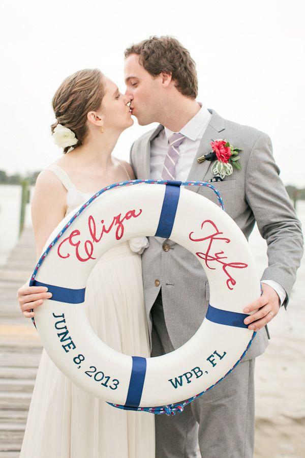 Nautical Waterfront Wedding, bride, groom, pier, waterfront, flowers, red, white, blue