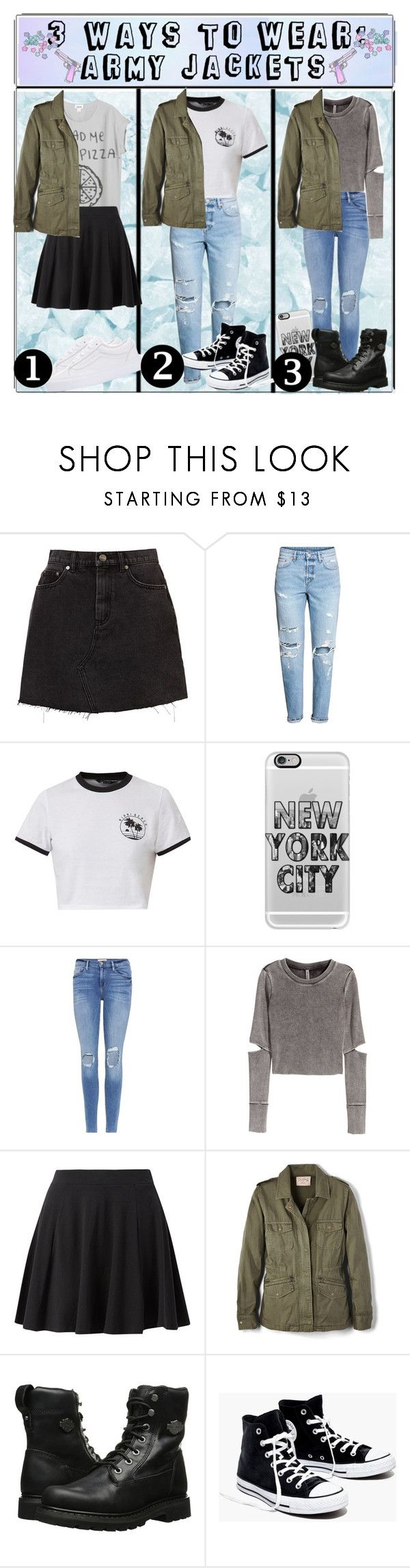 """3 ways to wear: army jackets"" by switchkid ❤ liked on Polyvore featuring H&M, Casetify, Frame, Velvet by Graham & Spencer, Harley-Davidson, Madewell, Vans, 3waystowear and threewaystowear"