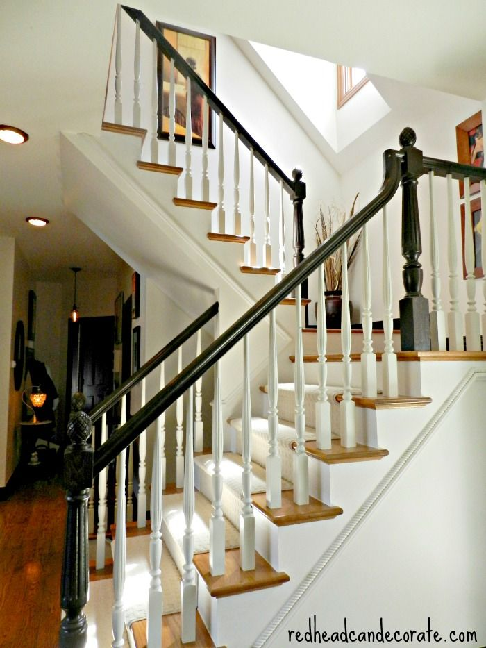 Staircase Makeover - love the dark handrail!!