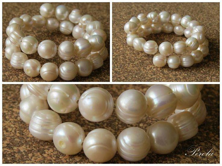 Pulsera en espiral de perlas grandes!!!
