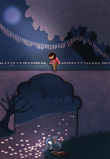 """Diwali Lights, Girl and Elephant - """"Night Lights"""" -  Nidhi Chanani"""