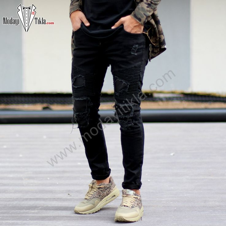 Siyah Deri Yamalı Jeans