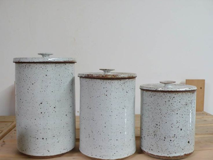 """I know I don't """"need"""" these, but I could use them for so many things, that I'm coming very close to needing them.  I will surely need them by tomorrow. White Speckle Canisters by Victoria Morris"""