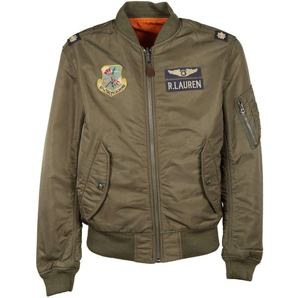 Military Patch Bomber Jacket ($335) ❤ liked on Polyvore featuring men's fashion, men's clothing, men's outerwear, men's jackets, brown, ralph lauren mens jacket, mens brown jacket, mens brown leather bomber jacket, mens patch jacket and mens military style jacket