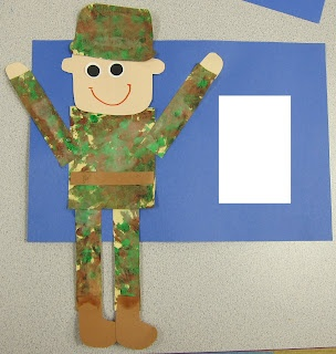 """Veteran's Day Craft: Qtip paint brown/green camo, """"Thank you for serving our country!"""""""