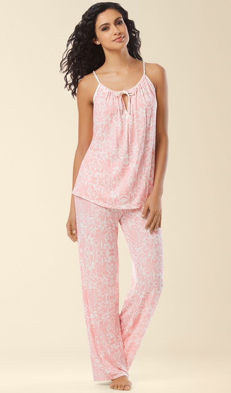 Midnight by Carole Hochman Pajama Set in Island Life Pink Print. Set your sights on a dreamland destination in ultimate comfort. Two piece pajama set in a lovely pastel hue and touches of satin.