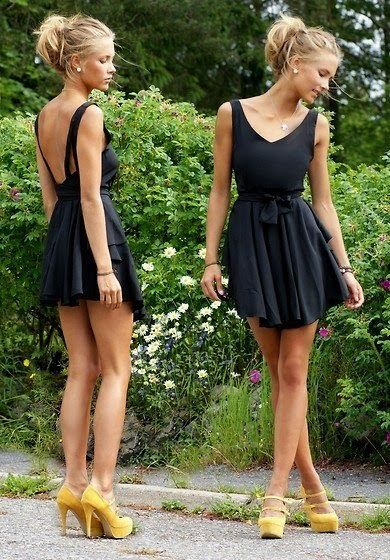 Stunning little black dress with stunner yellow heels.  Outfit of the Day: 27 July 2014.