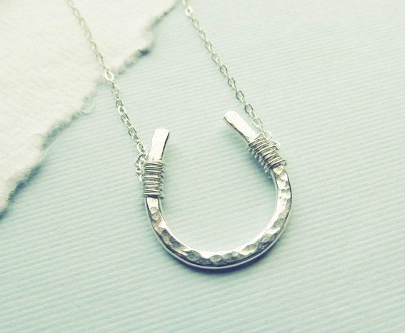 Lucky Horseshoe Necklace  Fine Silver  Good by WithLoveHeather, $32.00