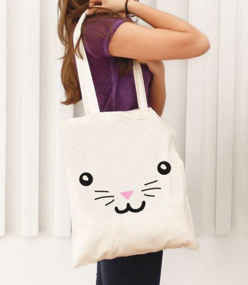"""Bolsa de Tela con Asas Largas para llevar al hombro.Una bonita Bolsa de Tela con el diseño """"Cara Conejito"""". IDEAL para regalo, una bolsa de tela preciosa para"""
