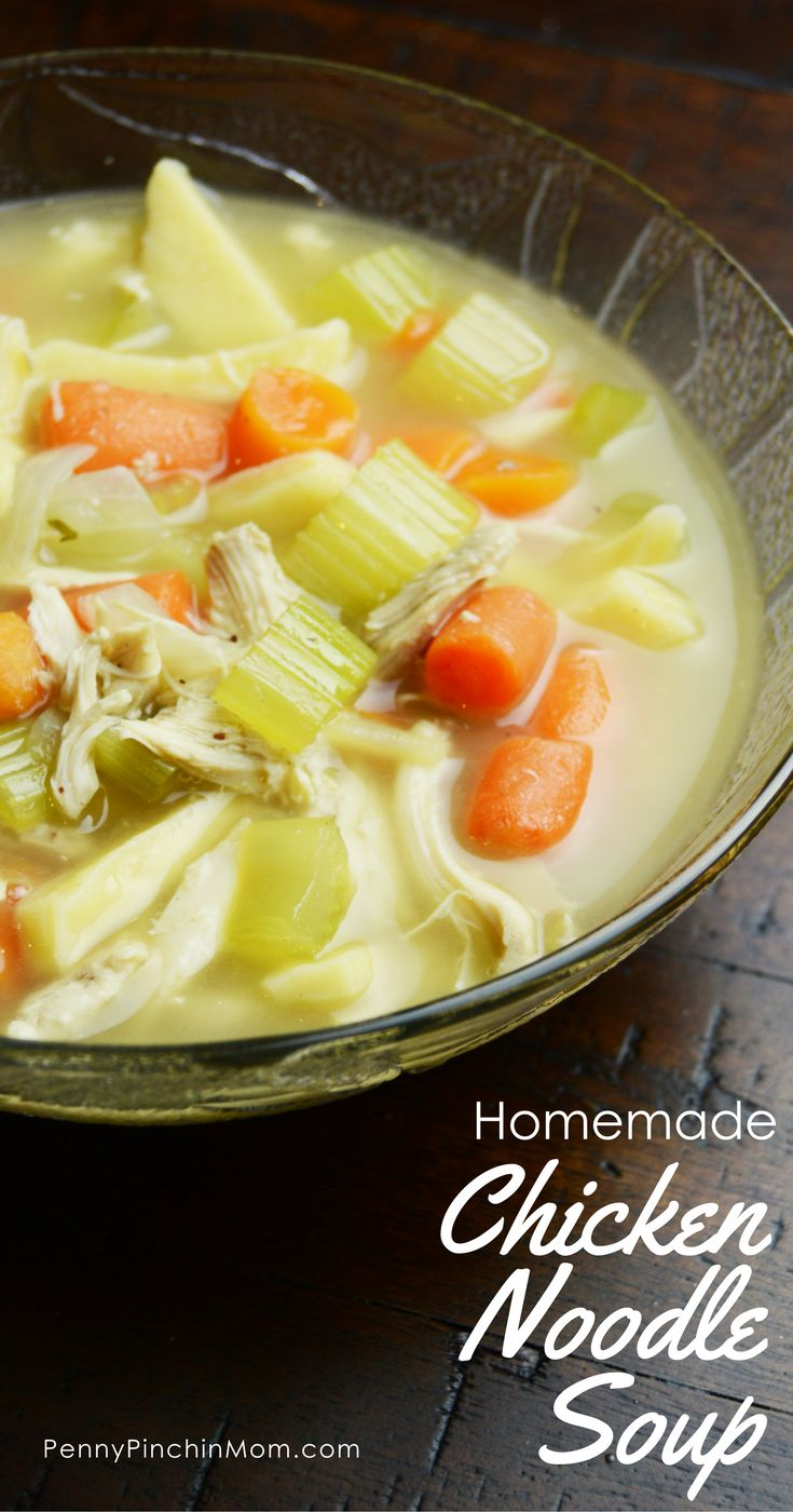 Super easy homemade chicken noodle soup recipe!    Chicken Soup | Chicken Noodle Soup | Chicken Soup Recipe | Chicken Noodle Soup Recipe | Easy Chicken Soup Recipe | Easy Soup | Fast Soup via @PennyPinchinMom