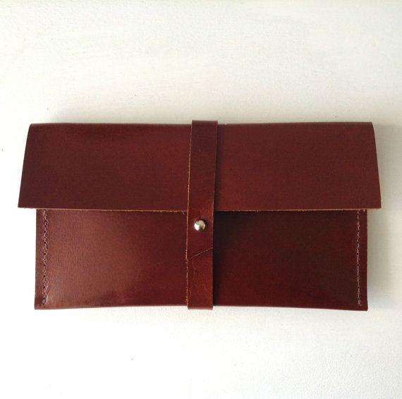 Minimal Leather Wallet in Brown Travel Wallet Phone by MeryBradley