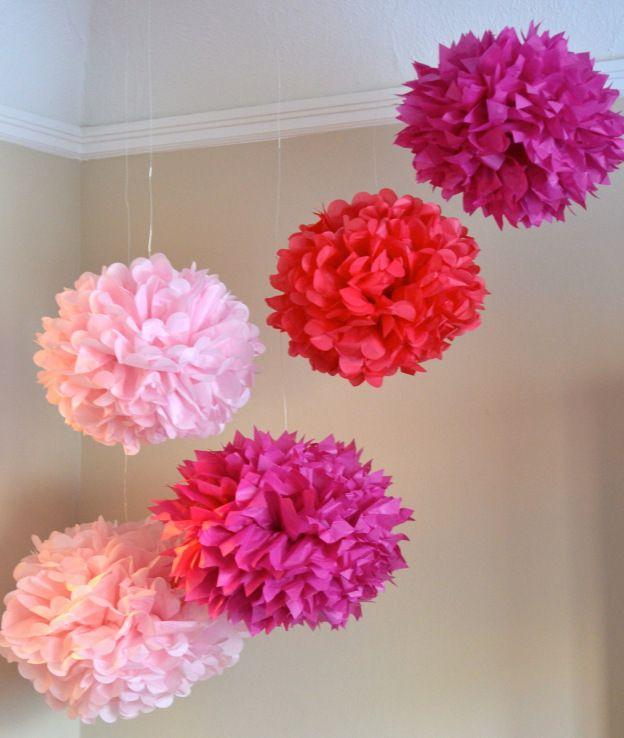 Diy Tissue Paper Pom Poms- decor for the girls room.