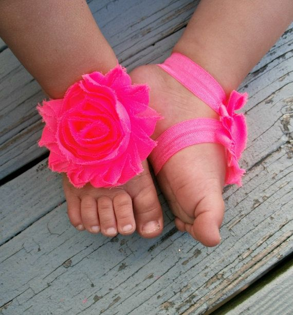 20%OFF .. Baby Barefoot Sandals .. Neon Pink Flowers .. Toddler Sandals .. Newborn Sandals