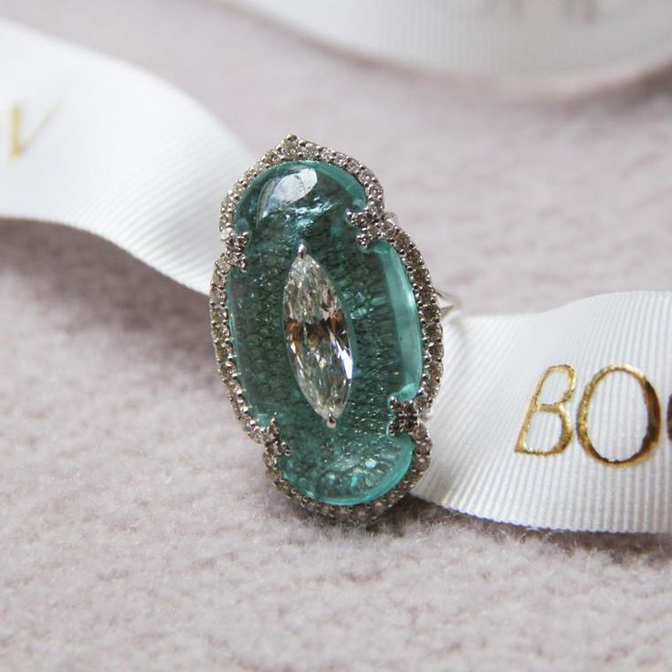 Boghossian Paraiba tourmaline and marquise-cut diamond high jewellery ring. http://www.thejewelleryeditor.com/jewellery/article/boghossians-daring-creations-are-perfect-reason-visit-masterpiece/ #jewelry