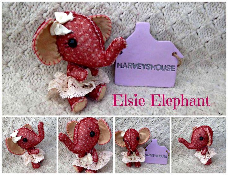 Hand Sewn Felt Elephant - Elsie The Elephant - Ready To Buy Collectable by HarveyshouseCrafts on Etsy