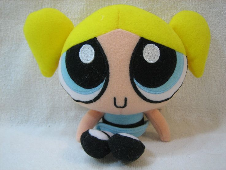 "Powerpuff Girls Bubbles 6"" Plush. 6"" plush. polyester fibers and plastic pellets. surface washable."