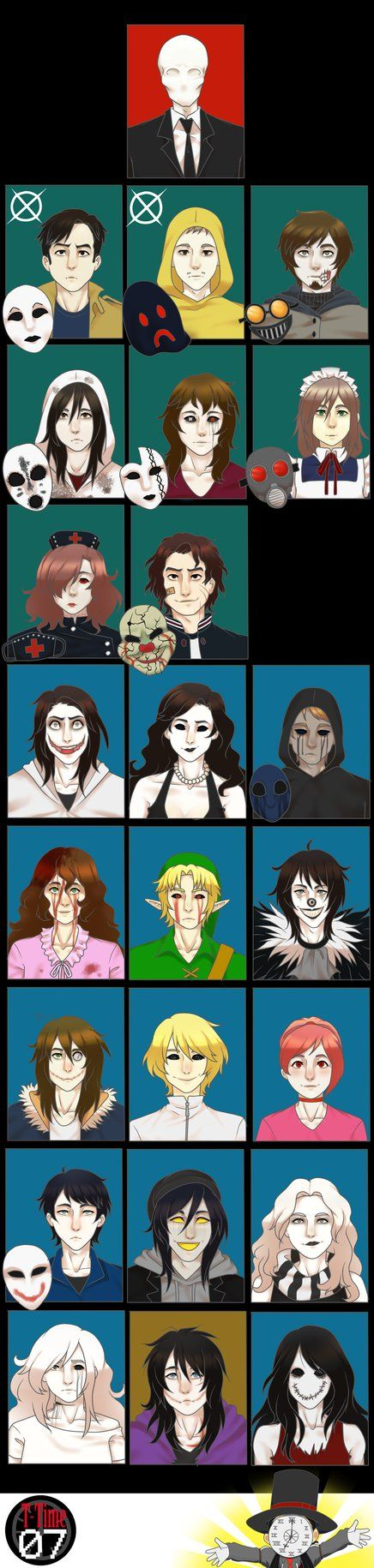 Slenderman © Masky & Hoody © Marble Hornets Slender-verse/proxy Ticci-Toby © Kate the Chaser © Slender:The Arrival game Nemesis © Mary the Maid © Nurse Ann © ...