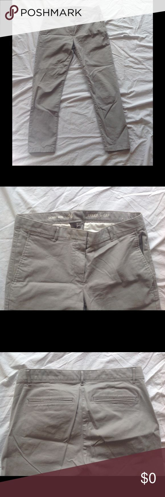 NWOT GAP Skinny Mini Kakis Size 6, pewter gray, cotton with 3% elastane.  Year round weight. GAP Pants Straight Leg